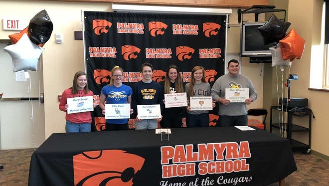 Palmyra student-athletes, from left, Karly Bruce, Ellie Keck, Josh Myers, Rebecca Randall, Rachel Hutchinson and Matt Weaver made their college choices on Wednesday during a National Signing Day event at Palmyra.