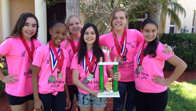 """From left to right: Luci Blanco, Nikkita Cheriel, Grace Condit, Zoe Ciabaton, Sophia Condit, Kaitlyn Carlson. Six Southwest Florida middle-schoolers who call themselves """"Think Tank"""" will once again compete at Odyssey of the Mind World Finals in May, this time in Iowa."""