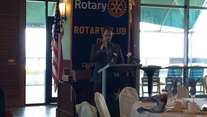 Lt. Ray Tenorio speaks at the Rotary Club of Guam's weekly meetings. Tenorio was invited as a part of Meet the Candidates series which features all five gubernatorial candidates to talk about their platforms.
