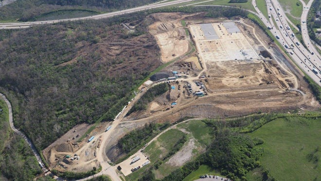 An aerial view of the former Showcase Cinemas site in Erlanger. The land is being prepped for the construction of the first of two commercial buildings.