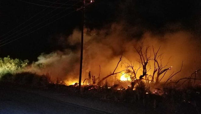 A vegetation fire that broke out Friday night, June 8, 2018, in Thermal has been contained to 3.5 acres, officials say.