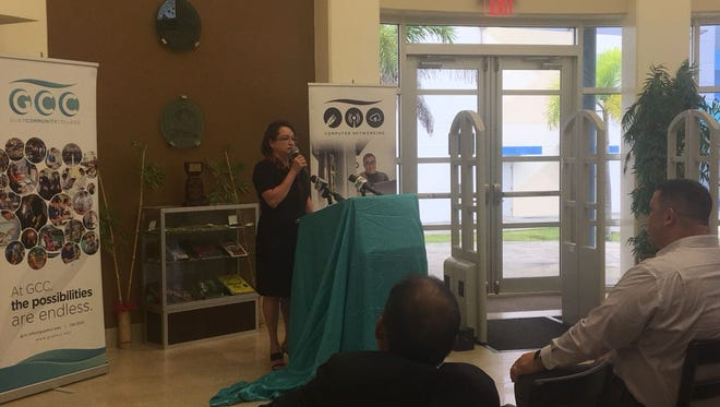 Guam Community College President Mary Okada reveals the college's accreditation status on Friday, June 15, 2018 at the GCC's Learning Resource Center. The campus received accreditation for another 7 years after being reviewed by Accrediting Commission for Community and Junior Colleges.