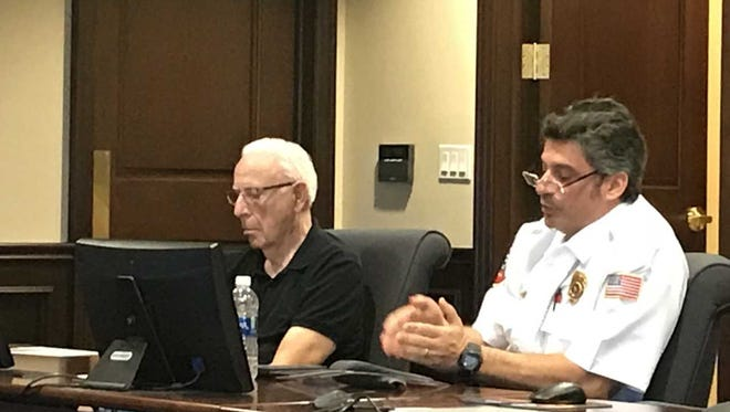 Sal D'Angelo,  Executive Director for the North Collier Fire Control and Rescue District, talks about the fire fee proposal at a town hall meeting geared for business owners.