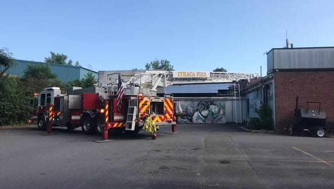 Firefighters responded to the Ithaca Bakery on Meadow Street on Wednesday for a fire on the roof.