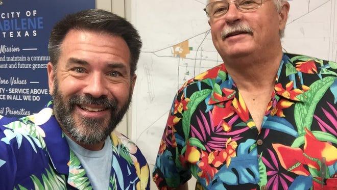 Abilene city councilmen Kyle McAlister and Jack Rentz sport some tropical colors at Thursday's meeting.