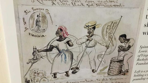 "This image, sketched by noted 19th-century artist Lewis Miller. The Homewood Museum's label for the drawing states: ""Left is a young woman spinning wool. Center is a man holding a long-handled hoe. Right is a young man pounding corn in a ""hominy"" block to make corn meal."" Many Lewis Miller drawings are owned by the York County History Center. But others reside in museums and private collections around the world."