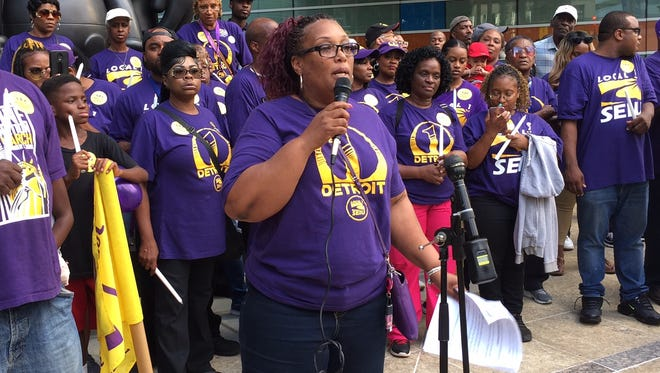 Pamela Moore, SEIU Local 1 executive board member, speaks at a July 23, 2018 rally outside One Campus Martius in Detroit.