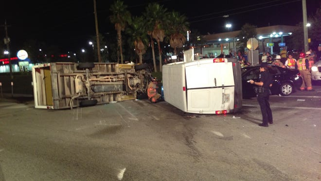 Three vehicles involved in rollover crash.