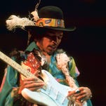 Jimi Hendrix performing at the Royal Albert Hall in London on February 18, 1969.