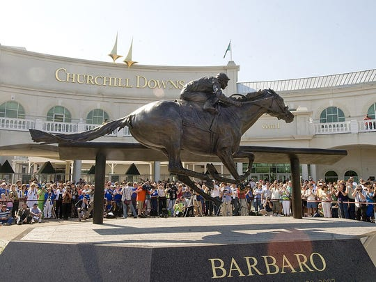 A statue of Barbaro was placed outside Churchill Downs on April 26, 2009. The 2006 Kentucky Derby winner was euthanized in 2007 because of complications from a broken leg. David R. Lutman