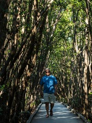 "Rod Black, of Cape Coral, hikes along the boardwalk at Four Mile Cove Ecological Preserve recently. ""I come out here 2-3 times a week weather-permitting."""