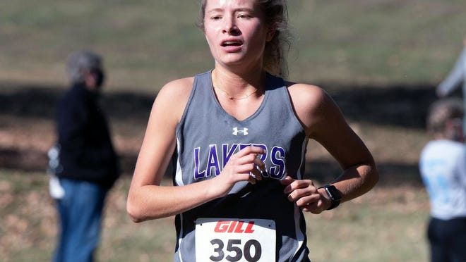 Camdenton's Cambrie Kowal in the Ozark Conference meet at Lake Springfield on Saturday, October 17.