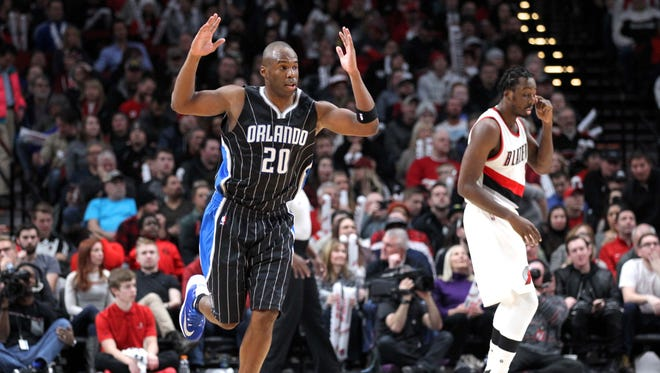 Jan 13, 2017; Portland, OR, USA;  Orlando Magic guard Jodie Meeks (20) reacts after making a three-point shot against the Portland Trail Blazers in the second half at Moda Center. Mandatory Credit: Jaime Valdez-USA TODAY Sports