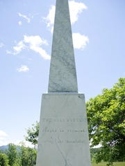 A marble obelisk sits atop Monument Hill in Hubbardton, a memorial to the Battle of Hubbardton.