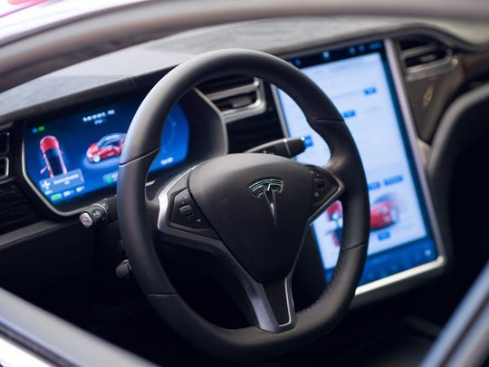 Tesla's interior, with its 17-inch touch display