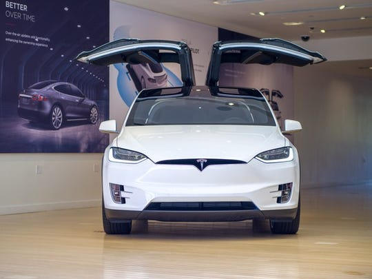 Model X in a Tesla store