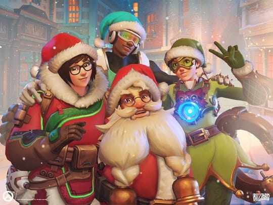 Four Overwatch characters dressed in elf and Santa Claus outfits.