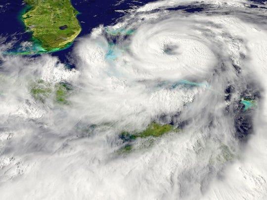 A hurricane on radar bearing down on Florida.