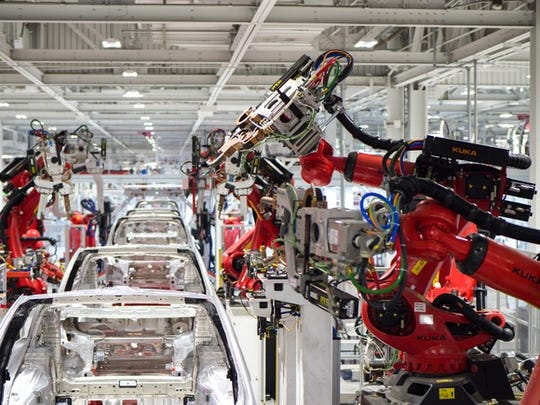 Tesla vehicle production at the company's factory in Fremont, California