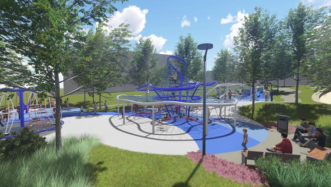 Design rendering of the Downtown Indy Canal Play Space as viewed from the canal walkway.