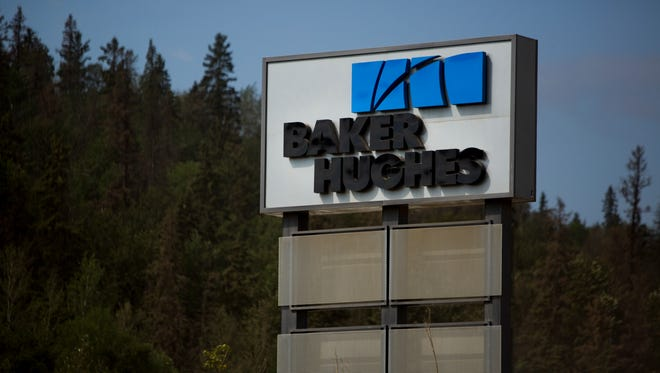 A Baker Hughes Inc. office stands in Fort McMurray, Alberta, Canada, on Tuesday, Aug. 13, 2013. Canadian oil companies have benefited as the gap between oil-sands crude grade Western Canada Select and U.S. benchmark West Texas Intermediate narrowed from a record $42.50 a barrel in December.