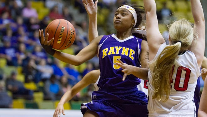 Rayne's Charlesa Dugas goes up to score against St. Michael's in the Lady Wolves' 48-44 victory in the Allstate Sugar Bowl/LHSAA GirlsÕ Top 28 Basketball Tournament in Hammond March 3, 2016.