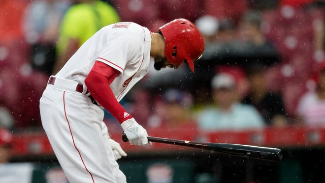 Cincinnati Reds center fielder Billy Hamilton (6) reacts to being struck out in the second inning of the Major League baseball game between Cincinnati Reds and St. Louis Cardinals at Great American Ball Park in Cincinnati on Friday, June 8, 2018.