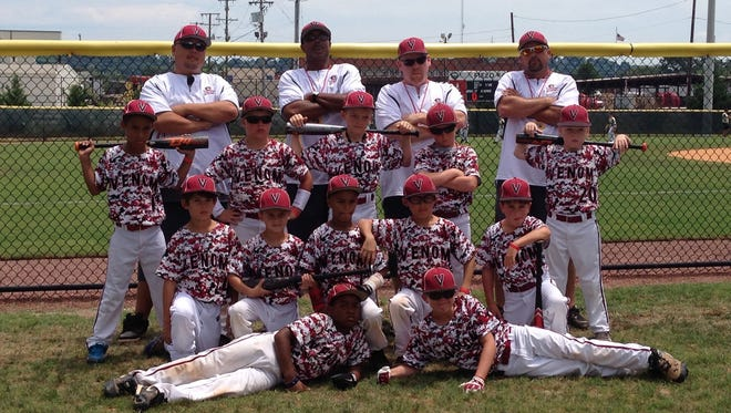 Above,the Tennessee Venom Baseball Club's 8U travel team finished second at the Baseball Players Association World Series in July. Front row (from left) are Justyce Law and Davis Smith. Second row (from left) are Lane Green, Caden Swader, D'Mani Moton, Sean Viriyapong and Blake Embry. Third row (from left) are TJ Sims, Chandler Fults, Josh Hearnes, Camden Sholar and Jeremiah LaMontagne Jr. Back row, from left, are assistant coach Ek Viriyapong, head coach David Swader Sr., assistant coach Jeremiah LaMontagne Sr. and assistant coach Ed Smith.