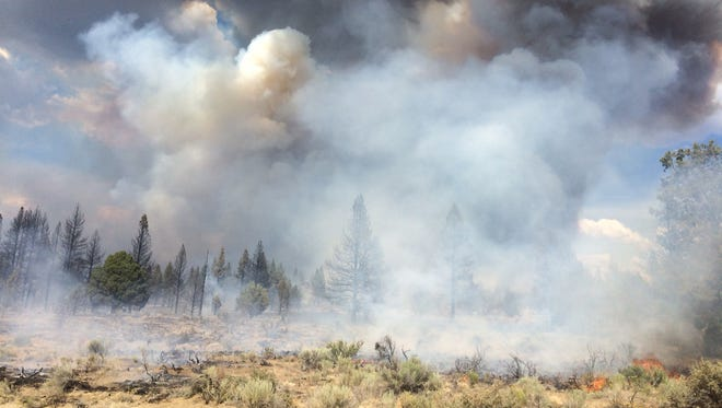 The Moccasin Hill fire burns north of Sprague River on July 13, 2014.