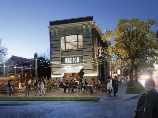 Rendering of the Nation Kitchen & Bar revitalization project for the Junietta Firehouse in Westwood.