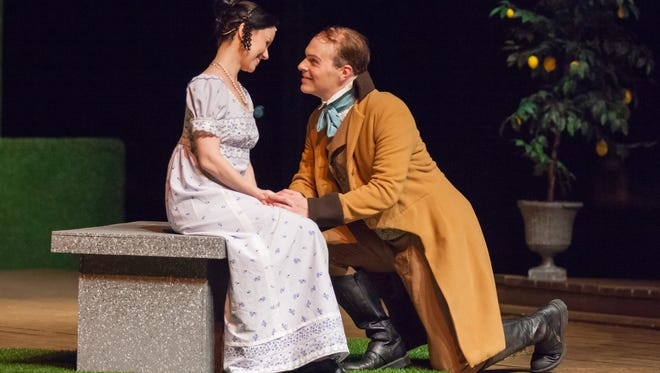 """Abigail Bailey Maupin and Gregory Maupin in Kentucky Shakespeare's production of  """"Much Ado About Nothing."""""""