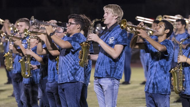 Redwood's band performs during the 14th Annual Band Showcase on Monday, October 3, 2016 at Groppetti Automotive Visalia Community Stadium.