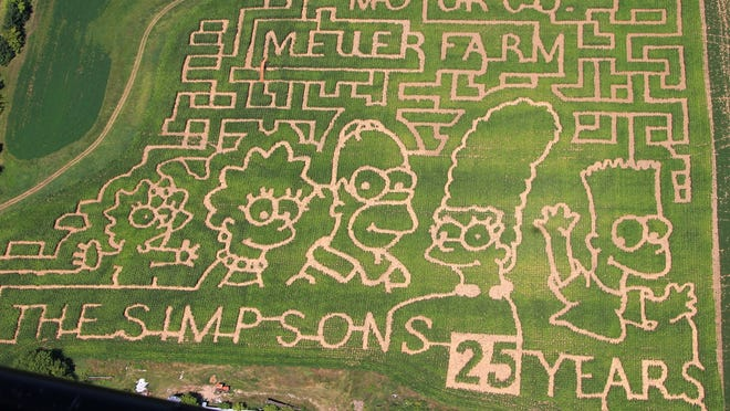 "Dave and Leslie Meuer's farm in Calumet County is marking ""The Simpsons"" show's 25th anniversary by showcasing each of the long-running show's characters in an elaborate corn maze."