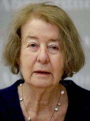 Hilde Schramm attends a press conference in Berlin, Germany, Monday, Jan. 21, 2019. Schramm, daughter of Hitler's architect Albert Speer, receives the Jewish history award for a foundation she founded to support Jewish women's cultural projects.
