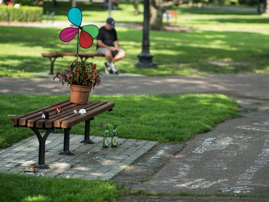 The bench and written messages in tribute to Robin Williams on Aug. 12. The bench, in Boston Public Gardens, was where scene in 'Good Will Hunting' featuring Williams was filmed.
