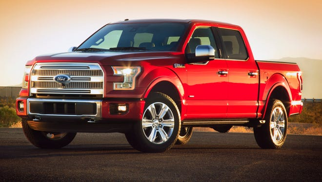The 2015 Ford F-150 aluminum-body pickup, on sale late this year, uses a huge grille for good airflow, and -- in Ford's view -- to look 'tough.'
