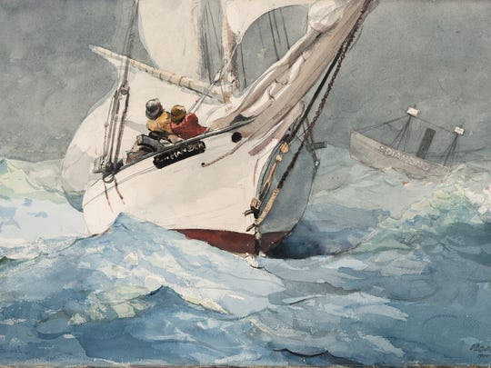 Winslow Homer is an American (1836-1910) artist. His work,'Diamond Shoal' was painted in 1905. It is a watercolor and graphite work on paper,