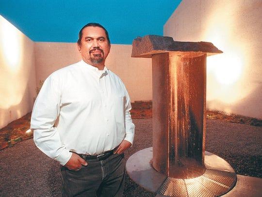 Jesus Bautista Moroles with his permanent installation