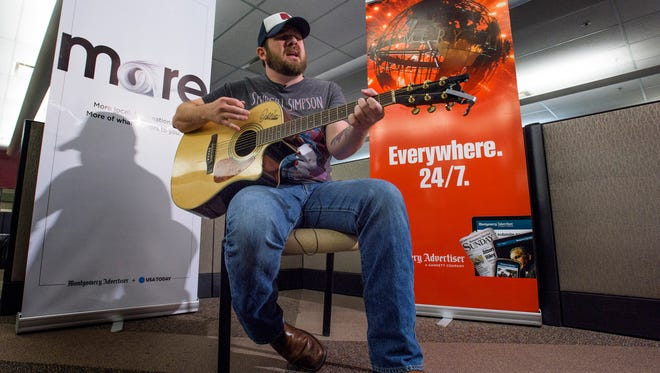 Stephen Bray performs a few of his songs in the Montgomery Advertiser newsroom in Montgomery, Ala., on Monday May 23, 2016.