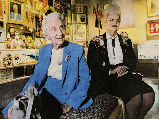 Polly Rosenbaum, seated next to late Gov. Rose Mofford in a 1992 photo, was appointed to the state House of Representatives after her husband died in 1949. She went on to serve 45 years.