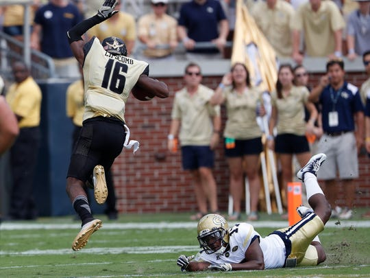 Vanderbilt wide receiver Kalija Lipscomb (16) gets past Georgia Tech defensive back Lance Austin (17) in the first half of an NCAA college football game Saturday, Sept. 17, 2016, in Atlanta.