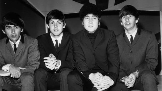 The Beatles prep for the British TV show 'Big Night' Out on Feb. 23, 1964 with Ringo as drummer.