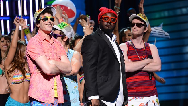 "Andy Samberg, T-Pain and Akiva Schaffer of The Lonely Island perform during ""The Big Live Comedy Show"" presented by YouTube Comedy Week held at Culver Studios on May 19, 2013 in Culver City, California."