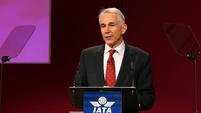 Director General and CEO of International Air Transport Association (IATA), Tony Tyler, speaks during IATA's 70th Annual General Meeting in Doha, Qatar, on June 2, 2014.