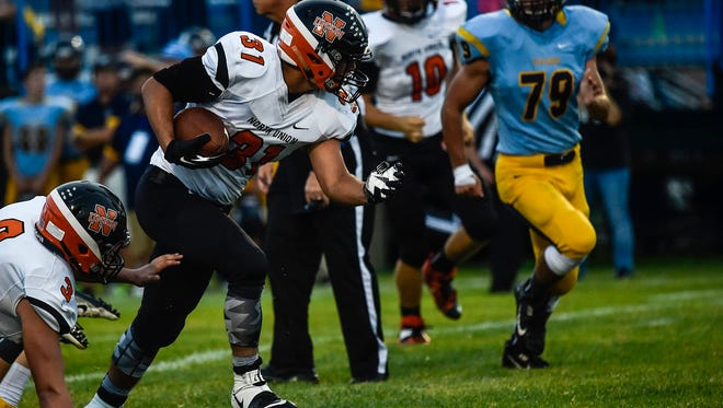 North Union running back Luke Krawczyk runs against River Valley two weeks ago. The Wildcats host Pleasant in a big Mid Ohio Athletic Conference Red Division matchup Friday at 7 p.m.