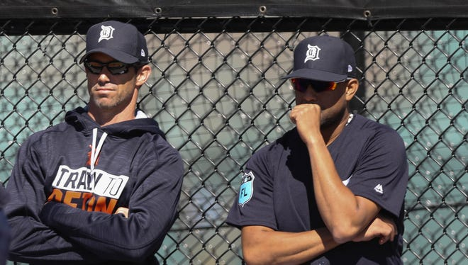 Tigers manager Brad Ausmus, left, and reliever Francisco Rodriguez during spring training on Feb. 16, 2017 at Publix Field at Joker Marchant Stadium in Lakeland, Fla.
