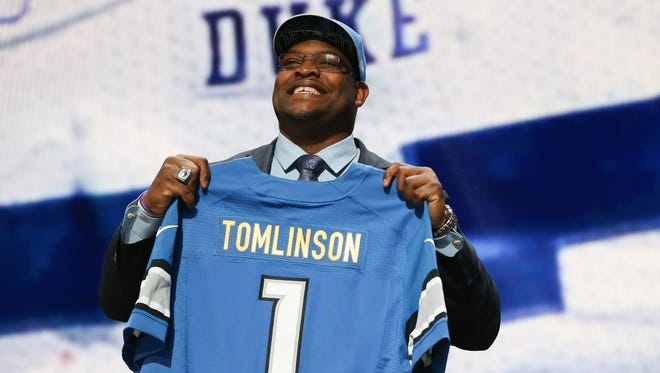 After trading back, the Detroit Lions selected Duke guard Laken Tomlinson at No. 28.
