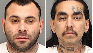 Jorge Ochoa (left) and Jaime Orozco were arrested Tuesday on gun- and drug-related accusations, according to the Riverside County Sheriff's Department.