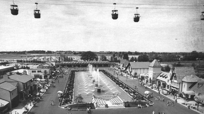 Sky Ride, 1972: The Swiss cable cars gave people a great view of International Street for the park opening on Memorial Day weekend in 1972.