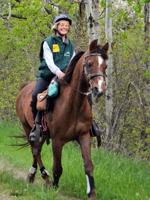 "Linda Jacobson and her horse ""JD"" shown at beginning of a 25-mile ride at Glacier Trails Endurance Ride on May 13 2017 in Palmyra. Linda is an experienced endurance rider, having logged over 11,000 miles in competition with the AERC since 1999. Linda has completed dozens of rides in Palmyra over the years."